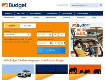 Main page screenshot of budget.co.za