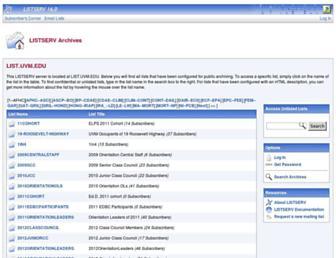 Main page screenshot of list.uvm.edu
