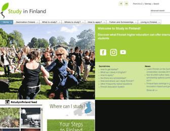 Main page screenshot of studyinfinland.fi