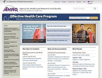 Main page screenshot of effectivehealthcare.ahrq.gov