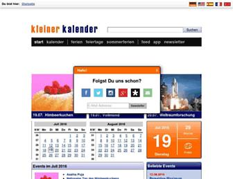 Main page screenshot of kleiner-kalender.de