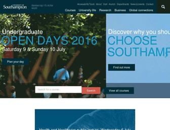 Main page screenshot of soton.ac.uk