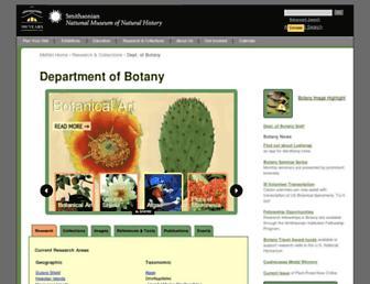 Main page screenshot of botany.si.edu