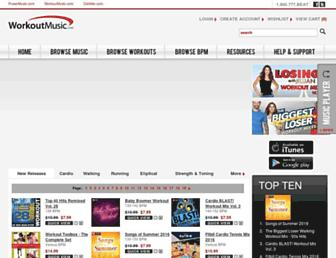 workoutmusic.com screenshot