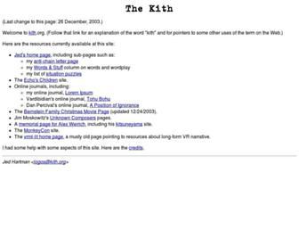 Main page screenshot of kith.org