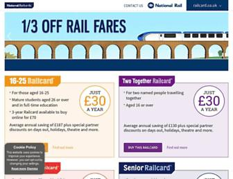 Main page screenshot of railcard.co.uk