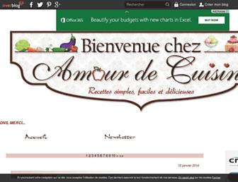 Main page screenshot of amourdecuisine.over-blog.fr