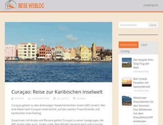 Main page screenshot of reise-weblog.de