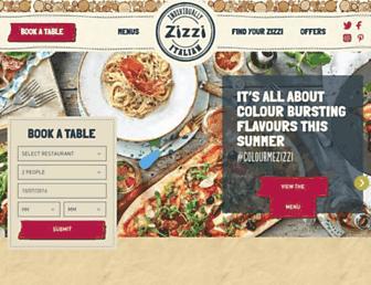 Main page screenshot of zizzi.co.uk
