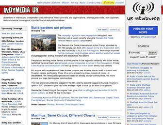 Main page screenshot of indymedia.org.uk