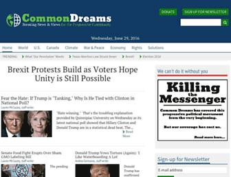 Main page screenshot of commondreams.org