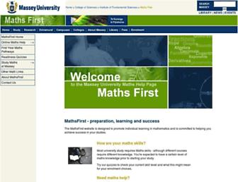 mathsfirst.massey.ac.nz screenshot