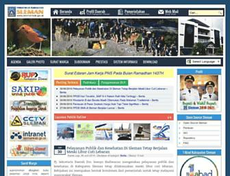 Main page screenshot of slemankab.go.id