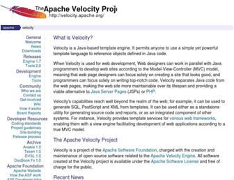 velocity.apache.org screenshot