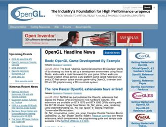 Main page screenshot of opengl.org