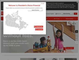 Main page screenshot of pcfinancial.ca