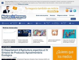 Main page screenshot of notasdeprensa.es