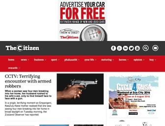 Main page screenshot of citizen.co.za