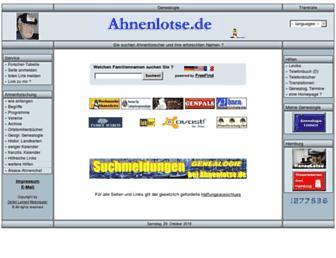 Main page screenshot of ahnenlotse.de
