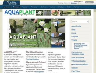 Main page screenshot of aquaplant.tamu.edu