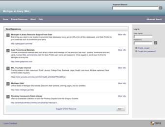 Main page screenshot of mel.lib.mi.us