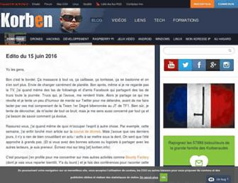 Main page screenshot of korben.info