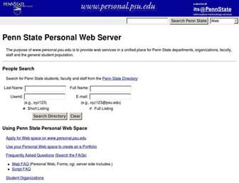 Main page screenshot of personal.psu.edu