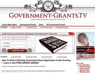 Main page screenshot of government-grants.tv
