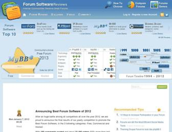 Main page screenshot of forum-software.org