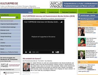Main page screenshot of kulturpreise.de