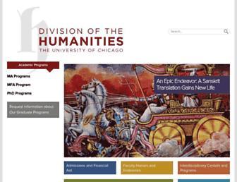 Main page screenshot of humanities.uchicago.edu