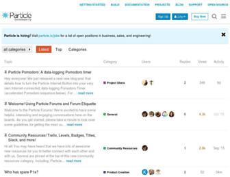 community.particle.io screenshot
