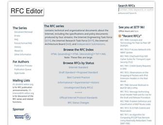 Main page screenshot of rfc-editor.org