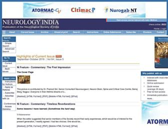 neurologyindia.com screenshot