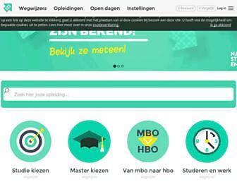 Main page screenshot of studiekeuze123.nl