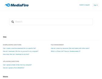 mediafire.zendesk.com screenshot