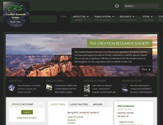 Main page screenshot of creationresearch.org