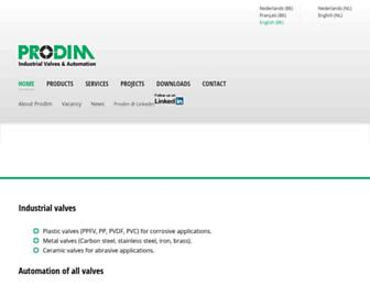 prodim-valves.be screenshot