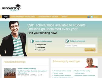 Main page screenshot of scholarship-search.org.uk