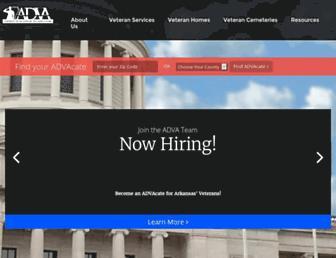 Main page screenshot of veterans.arkansas.gov