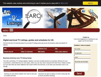 Main page screenshot of livelistings.co.uk