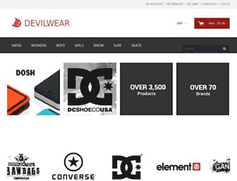 Main page screenshot of devilwear.co.uk