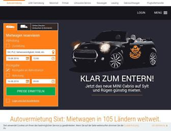 Main page screenshot of e-sixt.de