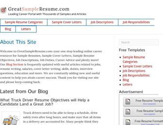 Thumbshot of Greatsampleresume.com