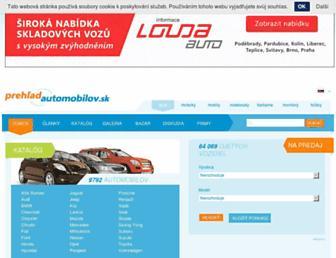Main page screenshot of prehlad-automobilov.sk
