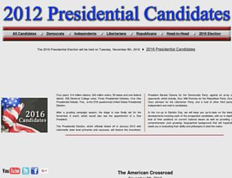 Main page screenshot of 2012.presidential-candidates.org