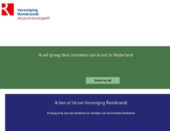 Main page screenshot of verenigingrembrandt.nl