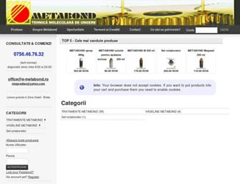 Main page screenshot of e-metabond.ro