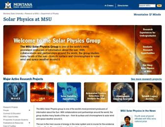Main page screenshot of solar.physics.montana.edu