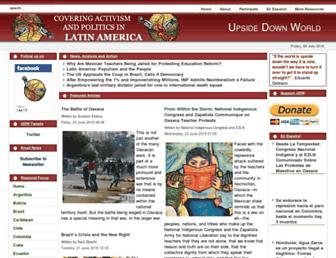 Main page screenshot of upsidedownworld.org